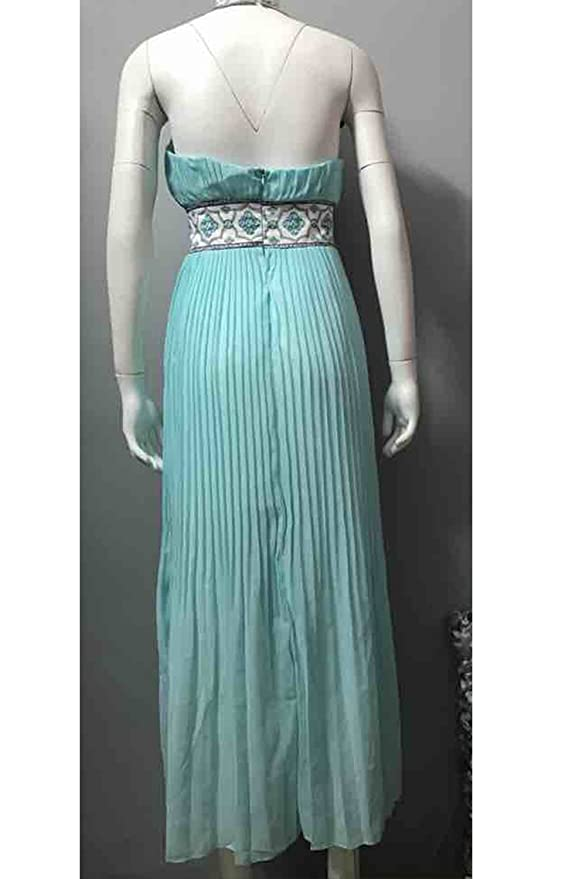 La Mujer Elegante Cabestro Gasa Fit & Acampanado Plisado Vestido De Noche De Swing Maxi: Amazon.es: Ropa y accesorios