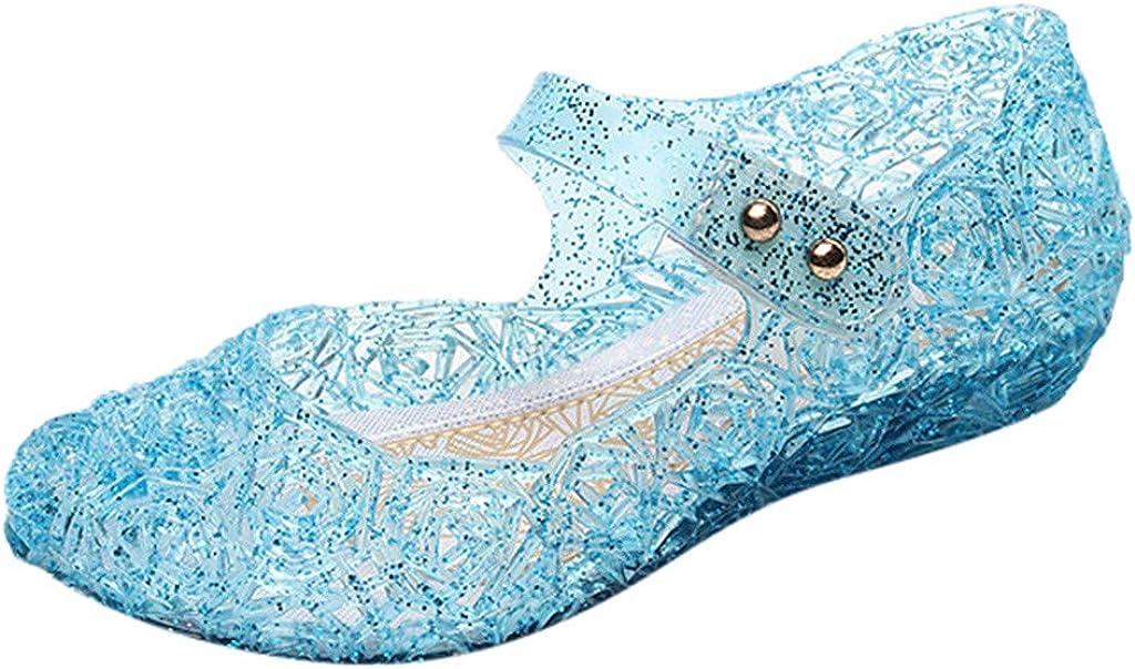 AIni Sandalias de Cristal para niñas Zapatos de Princesa para niños Sandalias de Playa de Verano Zapatos Planos con Comodidad Antideslizante Rosa, Negro, Azul, púrpura, Blanco 24-29 EU