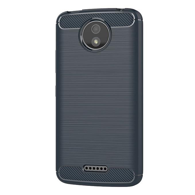 AICEK Funda Moto C Plus, Azul Silicona Fundas para Motorola Moto C Plus Carcasa Motorola C Plus Fibra de Carbono Funda Case (5,0 Pulgadas)
