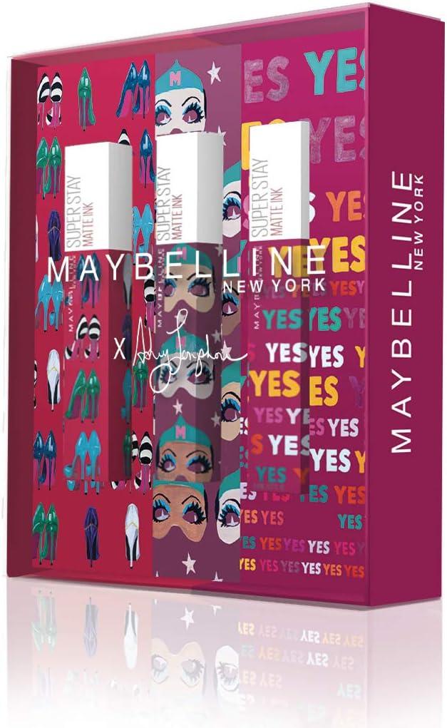 Maybelline New York - Cofre de 3 Pintalabios Superstay Matte Ink, Edición Limitada Ashley Longshore, Incluye los Tonos 20 Pioneer, 40 Believer y 120 Artist