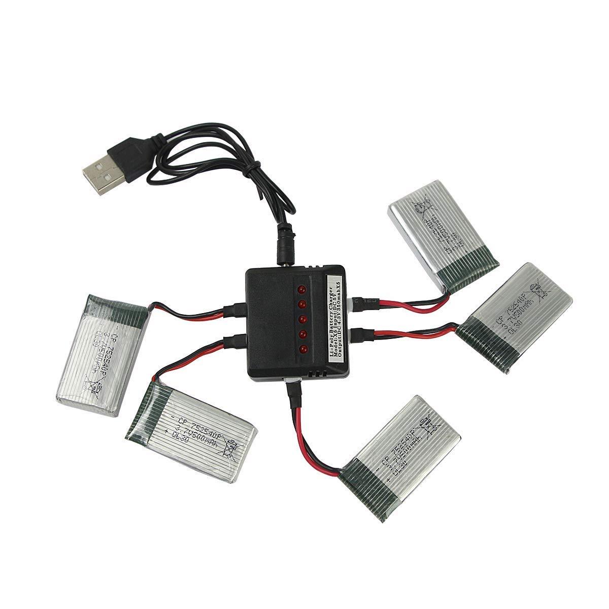 5 Baterias 3.7v 500mah + Cargador Para Drone Syma X5 X5c