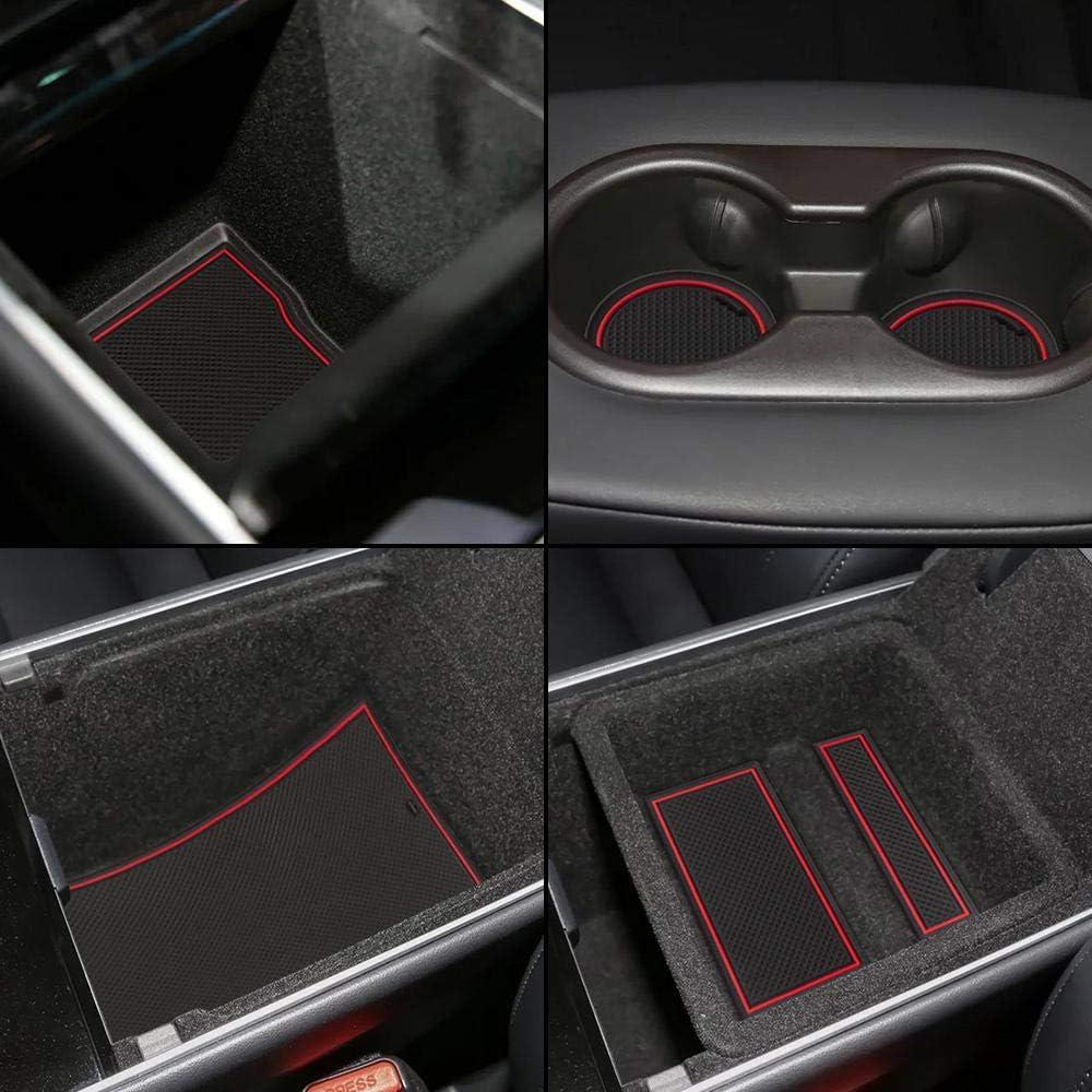 Womdee Tesla Model 3 Mittelkonsolenmatten Cupholder Liner Schwarz//Rot//Wei/ß Trim Dekoration F/ür 2017 2018 2019 Model 3