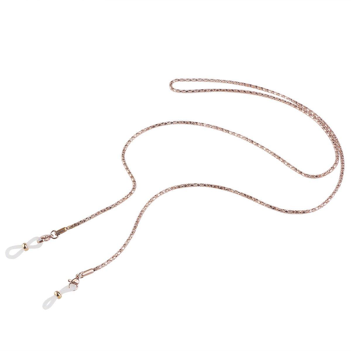 Ueetek catena in acciaio inossidabile Montatura antiscivolo degli occhiali da sole catena corda da collo supporto monocolo oro (non incluso)