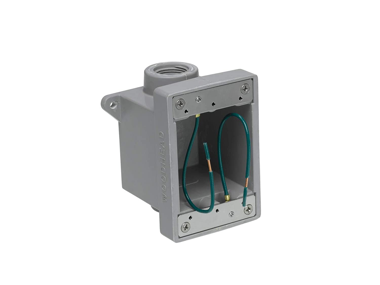 1//2 Thread Diameter 1//2 Thread Diameter Molex Industrial Duty Gray 2 Knock Out Openings Woodhead 452 FD Outlet Box