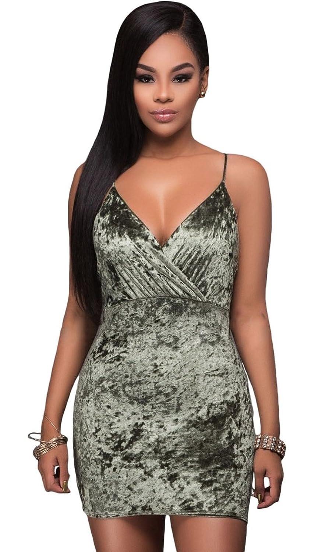 Women Sexy Velvet Spaghetti Strap Deep V Neck Backless Bodycon Clubwear Mini Dress