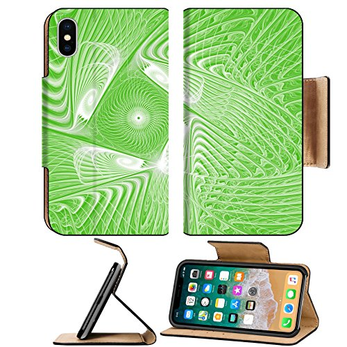Luxlady Premium Apple iPhone X Flip Pu Leather Wallet Case IMAGE ID: 43554766 Green and white fractal pattern computer generated image for logo design concepts web prints - Logo Stallion