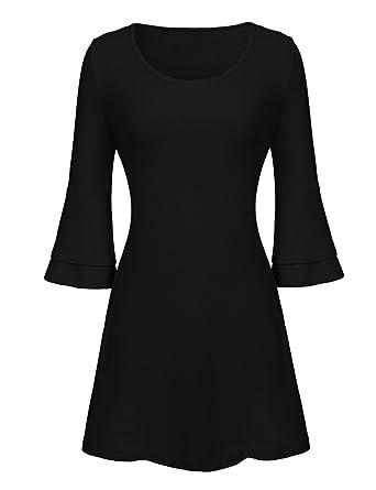 6b871337a245 ELESOL Women's Long Sleeve Tunic Dress Round Neck Short Dress Black_S