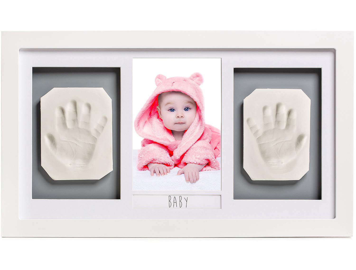 Lovely Baby Handprint or Footprint Picture Frame Kit -The Perfect Shower Gift for Boys and Girls, and A Forever Registry Memory, All in A Premium LARGE Wood Frame for Keepsake Decoration, Wall or Desk PremiumQP 5415435185