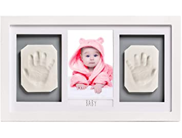 Safe and Non-Toxic Clay- Nursery Picture Frame Wall Decor- Unique Baby Shower Gift Keepsake Box for Girls Pets Boys Handprint and Footprint Photo Kit by Squiggle Baby- NO Mold