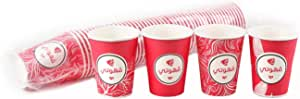 Qahoate Paper Cups 12 Oz without Handel, 50 Cups Per Bag