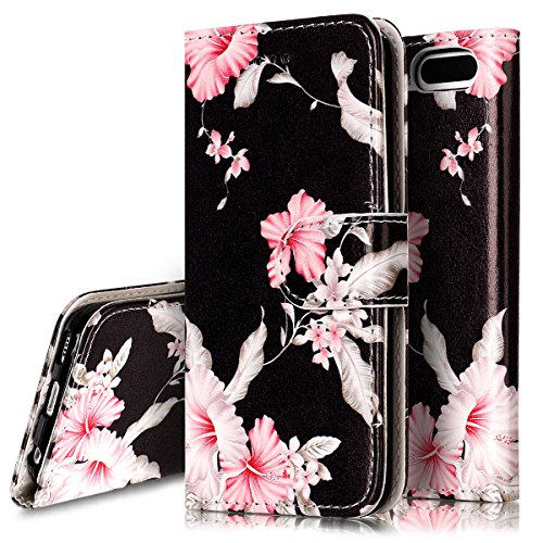 5th Black Leather (iPod Touch 6 Case,iPod Touch 5 Case, PHEZEN iPod Touch 6th / 5th Generation Wallet Case - Elegant Black Pink Flower Design PU Leather Flip Cover Stand Folio Protective Cover Case with Card Slot)