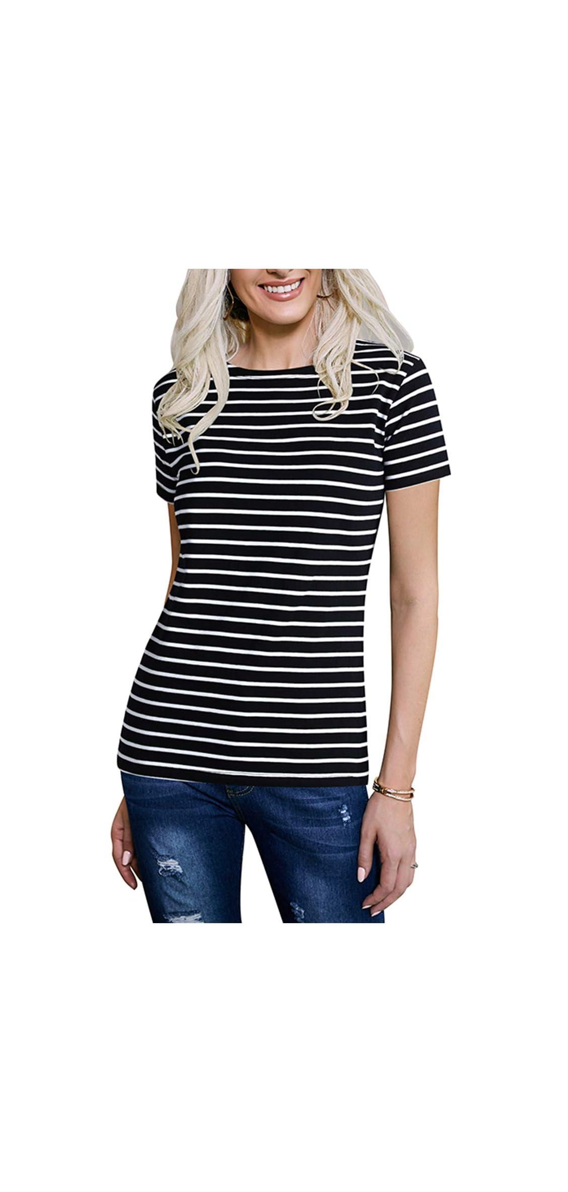 Women's Long Sleeve/short Sleeve Striped T-shirt Tee Shirt Tops