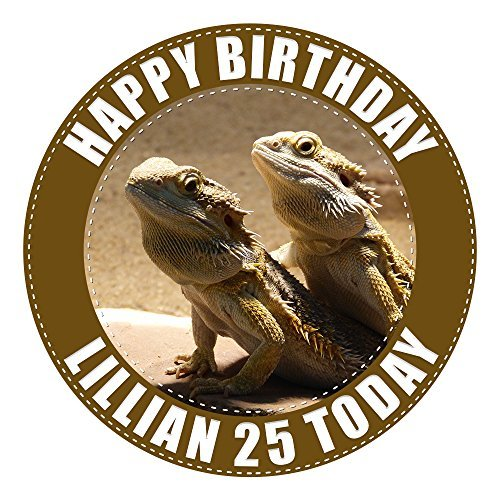 Bearded Dragon Lizard Cake Topper 7.5 Inch PERSONALISED Edible on Icing Sheet with HIGH RESOLUTION BACKGROUND IMAGE by Graphic Flavour