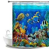Fish Shower Curtain Hooks HIYOO Bathroom Decorative Polyester Fabric Waterproof Shower Curtain, Ocean Sea Underwater Seabed Coral Theme Design, High-Definition Image, Mildew Resistant, with Hooks 60