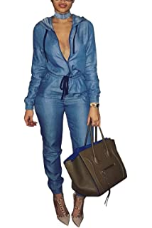 310e53e406e4 Zilcremo Women Denim Jumpsuits Sleeveless Full Length Jeans Jumpsuit Rompers  Overalls