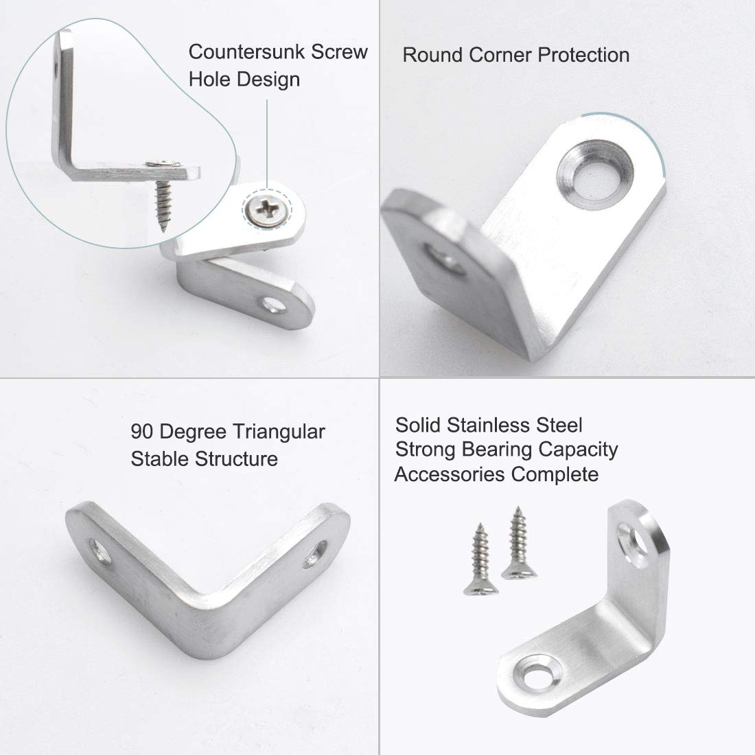 8 Pack Thicken Frame Board Support Brackets Furniture Connecting Parts with Screws for Wall Hanging Furniture Bookshelf UKCOCO Stainless Steel L Shaped Corner Brace