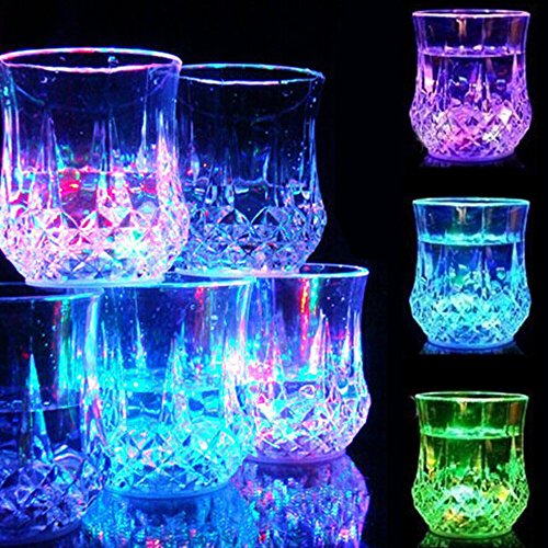 Led Light Up Glasses [5 Sets], AYAMAYA Led Shot glass Light Up Flashing Cups Liquid Activated Glass Hallween Supplies Bar Night Club Party Christmas Drinkware