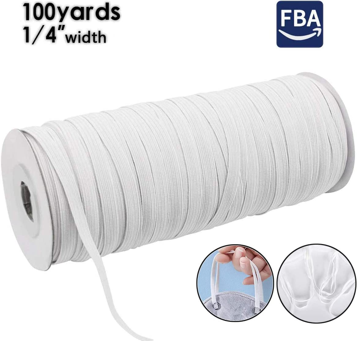 "1//4 inch Flat Knit Elastic 10 yards White NEXT DAY SHIPPING  1//4/"""