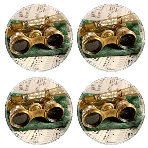 Liili Round Coasters Antique opera glasses rest on a tattered velvet pouch and sheet music Shallow Photo 481828