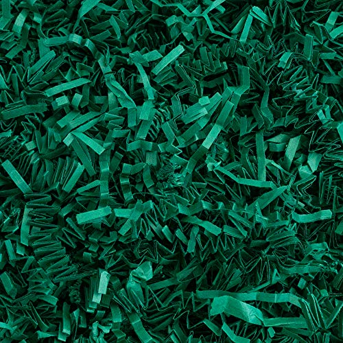 Crinkle Cut Paper Shred Filler (1 LB) for Gift Wrapping & Basket Filling - Forest Green   MagicWater Supply