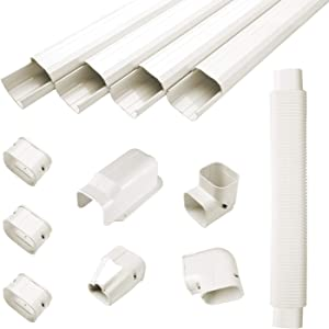 """GUYAAC 3"""" W 15ft L Air Conditioner Decorative PVC Line Cover Kit for Mini Split Air Conditioners and Heat PumpsSystems"""