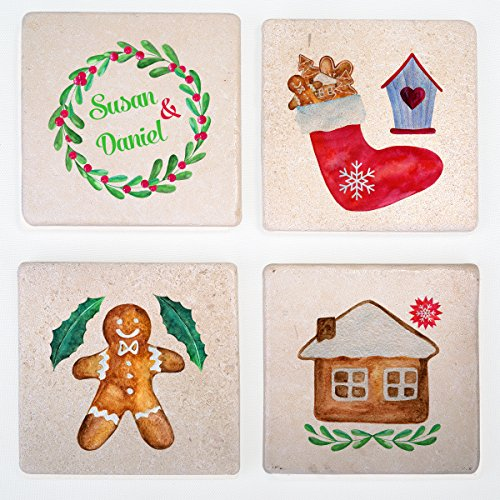 Personalized Christmas Decorated Stone Drink Coasters Set of 4 - Great Funny Gift (Halloween Blu Ray Box Set Australia)