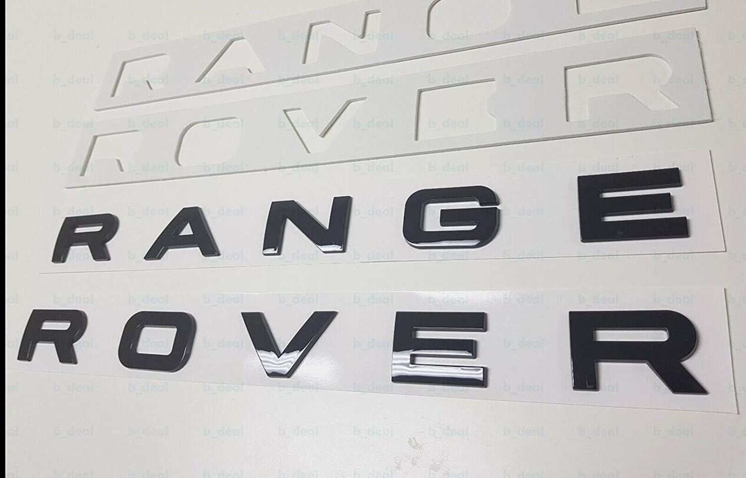 1PC New FOR R@nge Rover Black/SILVER LETTERS HOOD TRUNK TAILGATE EMBLEM BADGE (Gloss black)