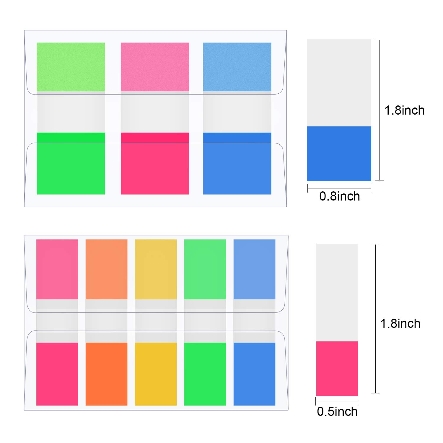Tatuo 660 Pieces Index Tabs Flags Neon Page Markers Fluorescent Sticky Note for Page Marker 9 Set 0.47 Inch and 0.8 Inch Wide Flags