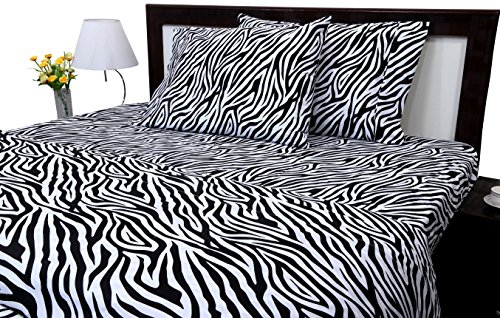 ARlinen Zipper closure duvet cover set Queen Size Zebra Print 400 Thread Count Cotton Ultra Soft & Easy Care,Simple Style Bedding duvet cover/qulit cover Set(1 Duvet cover & 2 Pillowcase) ()