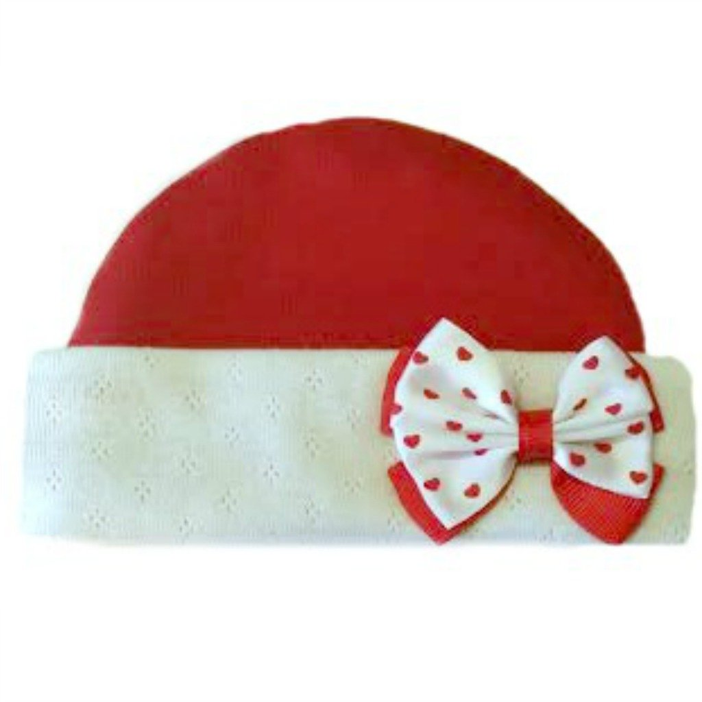 Jacquis Baby Girls Pretty Red Hat with Heart Bow