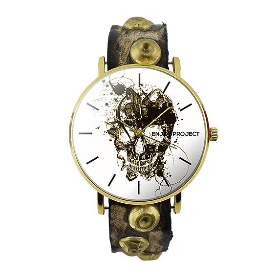 Reloj de pulsera para hombre Mujer Enjoy Project Impresión Calavera Skull Print Painted caja oro fondo