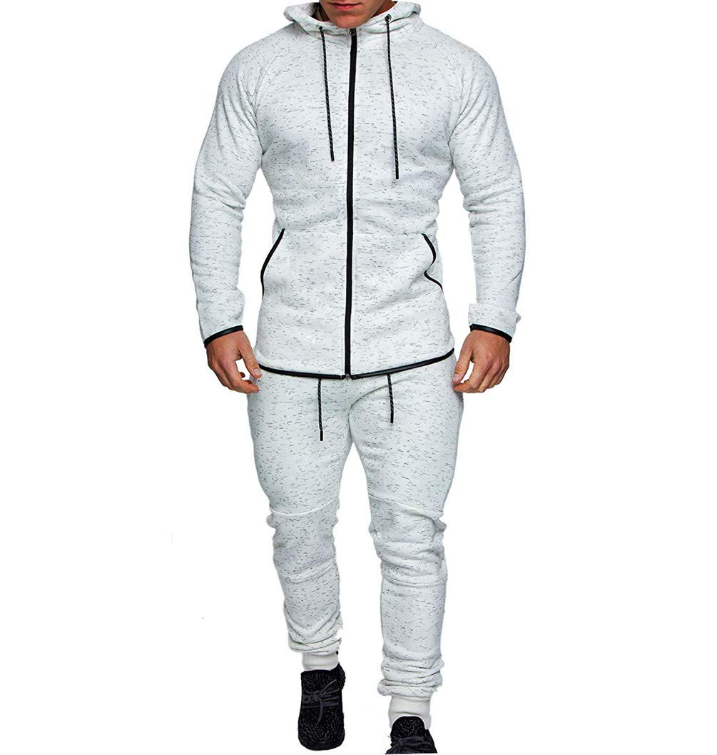 Men's Tracksuit Set Camouflage Sweatshirt Jogger Sweatpants Solid Patchwork Warm Sports Suit (Mottled-White, XXL) by lisenraIn