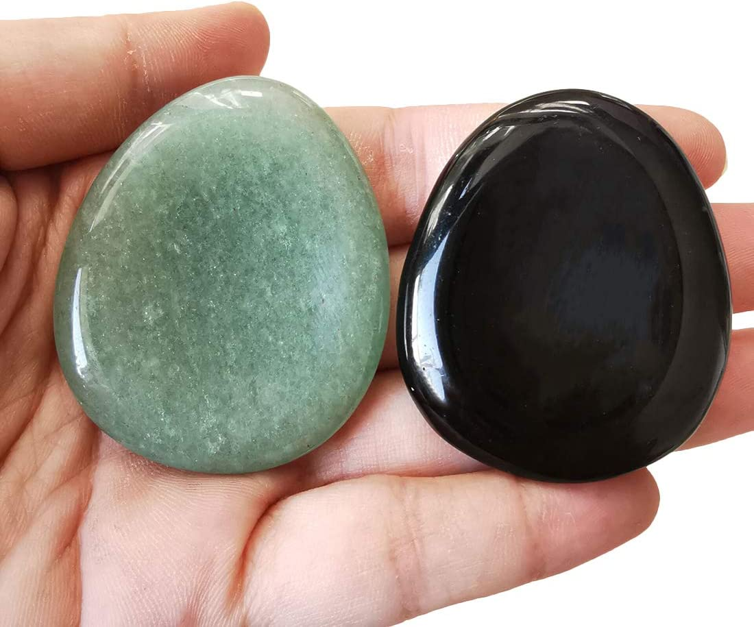 Stress Relax Healing Reiki Crystal Pocket Palm Stones,Pack of 4 Loveliome Thumb Worry Stone
