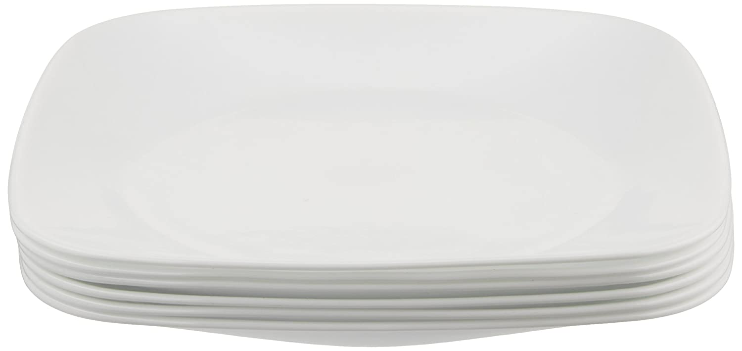 Corelle Square Pure White 9-Inch Plate Set (6-Piece)