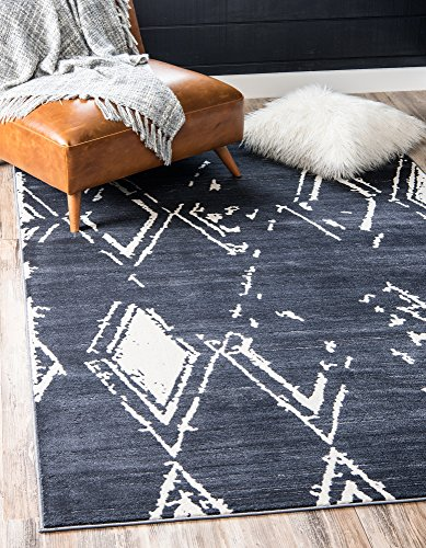 Unique Loom Uptown Collection by Jill Zarin Collection Geometric Modern Vintage Navy Blue Area Rug (8' 0 x 10' 0) (Zara Rug Collection)