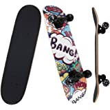 NPET Pro Skateboard Complete 31 Inch 7 Layer Canadian Maple Double Kick Concave Deck Skating Skateboard