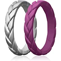 ROQ Silicone Rings for Women 1/2/4/6 Multipack of Thin Womens Silicone Rubber Wedding Rings Bands - Braided Flame Leaves…