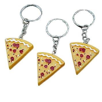 Amazon.com: cinra 10pcs Pizza Colgante Clave Cadena Llavero ...