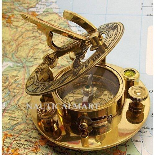 Nauticalmart 5 Inch Functional Round Brass Sundial Compass