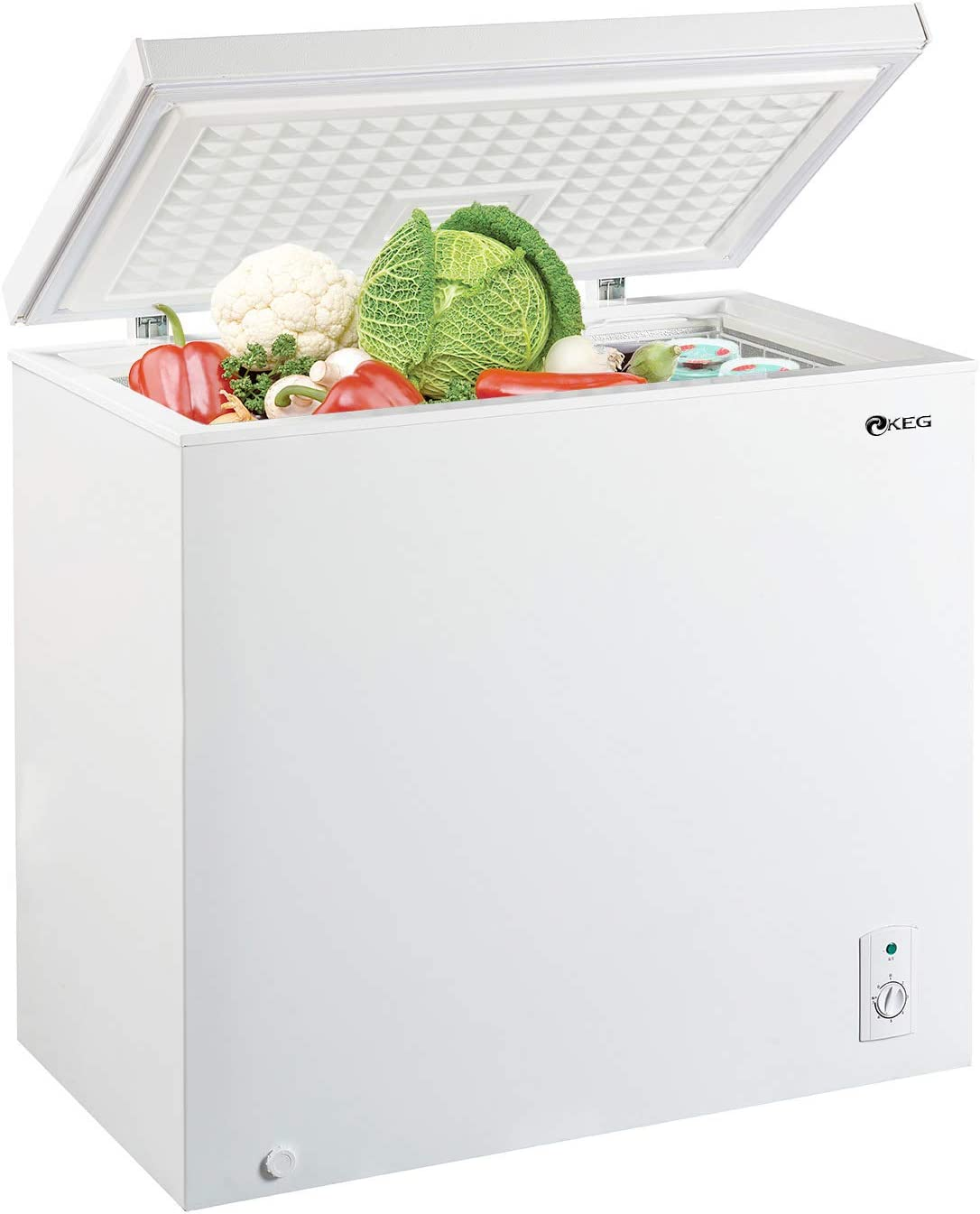 KEG Top Chest Freezer 7.0 Cubic Feet with Adjustable Thermostat and Removable Storage Basket, Freezing Machine for Home and Kitchen, White