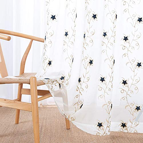 Floral Embroidered Sheer Curtains for Bedroom Drapes Semi Sheer Curtains for Living Room Embroidery Curtain Panels 84 inches Long Rod Pocket 2 Pieces, Blue