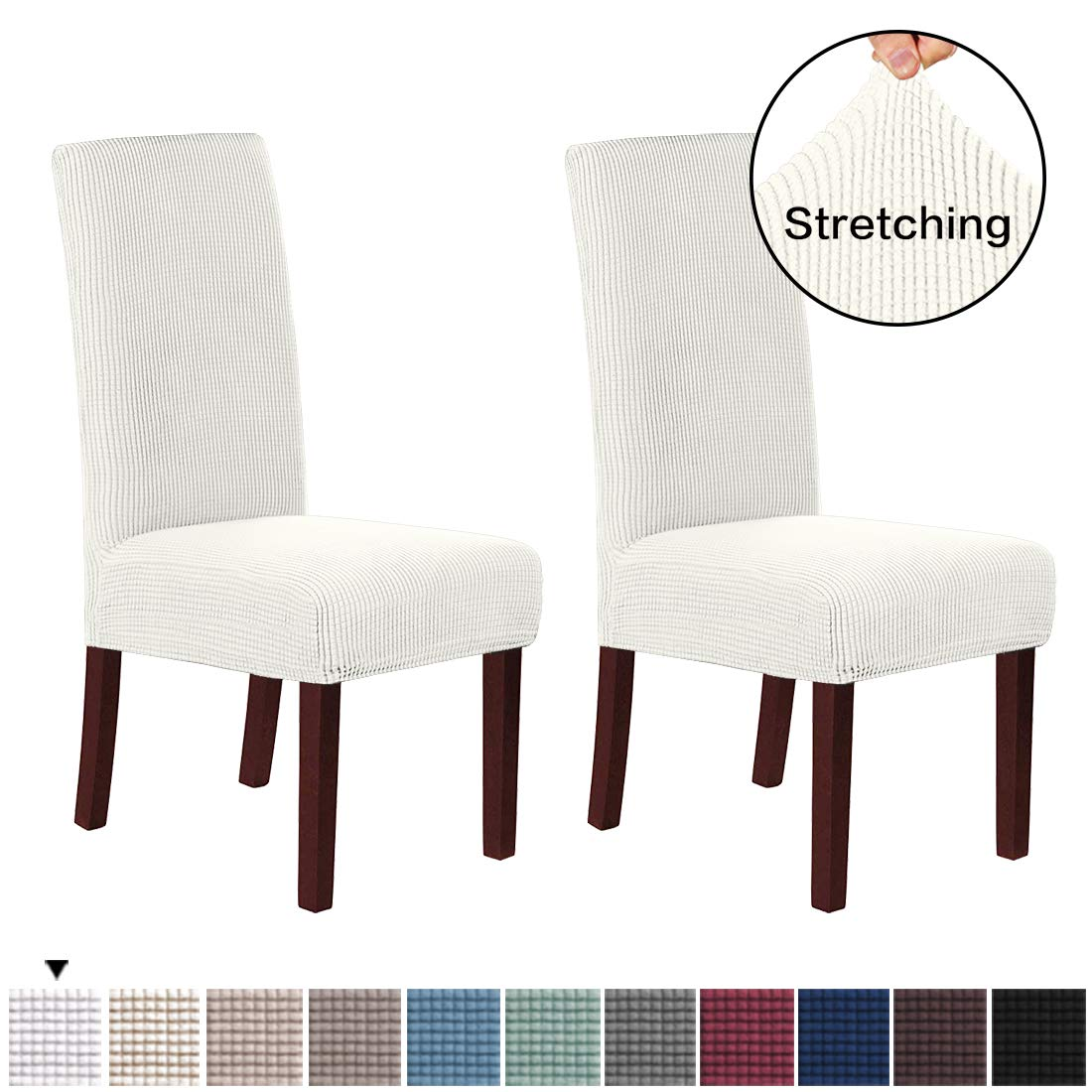 Banquet Chair Seat Protector Slipcover for Home Party Hotel Wedding Ceremony H.VERSAILTEX Soft Spandex Fit Stretch High Back Dining Room Chair Covers with Knitted Jacquard Pattern Black 2
