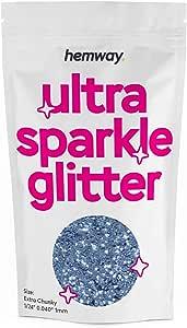 "Hemway Extra Chunky Glitter Premium Multi Purpose 1/24"" 0.040"" 1mm 1000microns Dust/Powder 100g / 3.5oz Crafts Cosmetic Wine Glass Face Art Nail Skin Festival (Azure)"