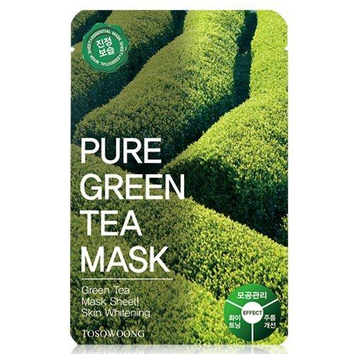 ([Tosowoong] masksheet 10PCS/Mask pack/Essence Facial Mask/Mask Sheet/Aloe/Blueberry/Green tea/Snail/Deep sea water/Propolis (Green tea))