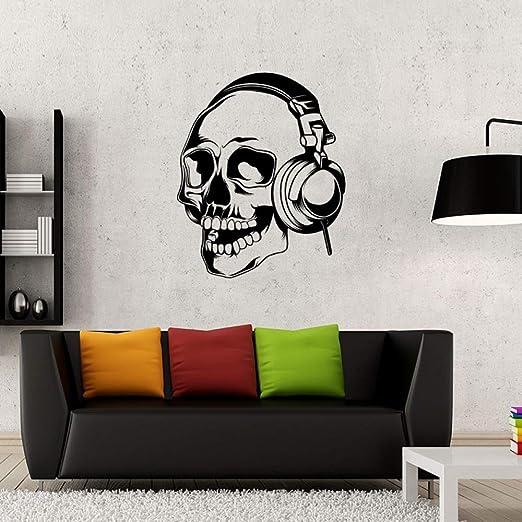 Esqueleto Creativo Etiqueta de la Pared Cráneo Música Auriculares ...