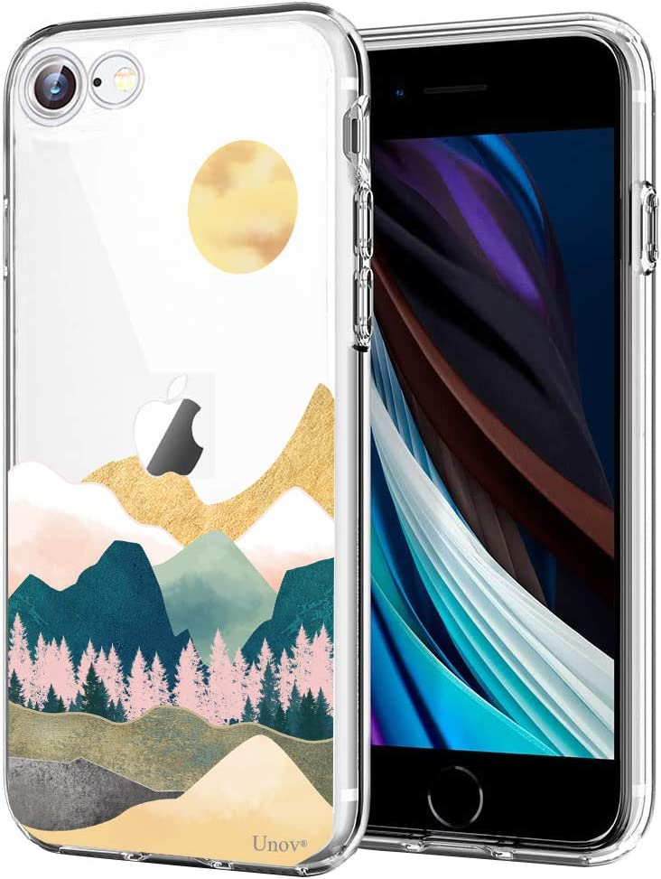 Unov Case for iPhone SE (2020) iPhone 8 iPhone 7 Clear with Design Embossed Pattern TPU Soft Bumper Shock Absorption Slim Protective Back Cover 4.7 Inch (Sierra Mountains)