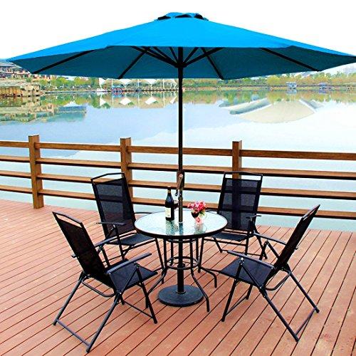 P&G Market Patio Outdoor 9ft Aluminum Umbrella with Tilt & C
