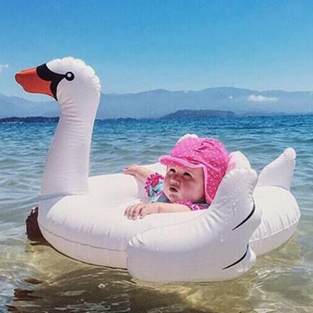 31X25X20 Amxylife White Swan Baby Swim Ride-On Float Swimming Pool ...