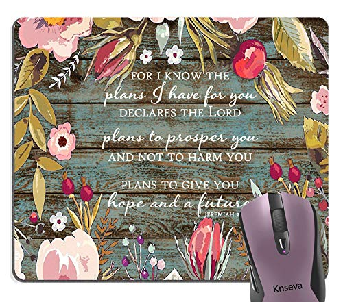 (Knseva Bible Verse Scripture Quotes Vintage Colored Floral Wreath Art Rustic Wood Grain Mouse Pad, for I Know The Plans I Have for You Declares The Lord Inspirational Quote Mouse)