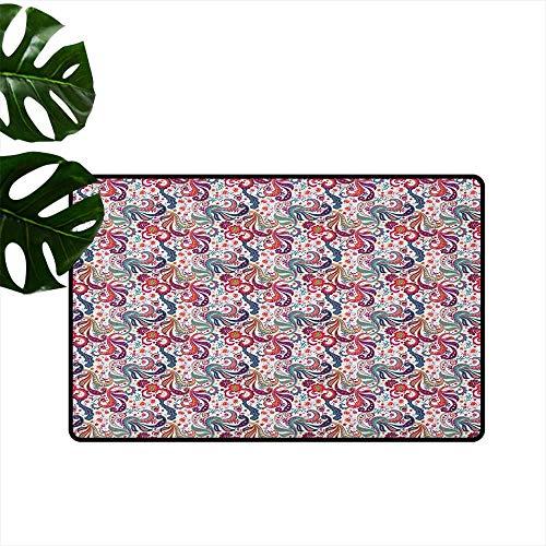 - RenteriaDecor Paisley,Door mats Asian Florals Lively Colored Petals and Hibiscus Cultural Souvenir Traditional Art 20